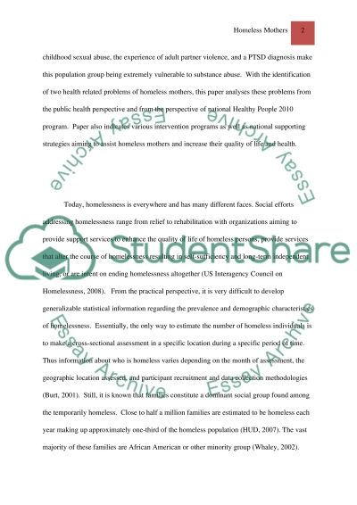 Vulnerable Population Homeless Mothers essay example
