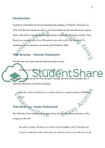 Trek Bicycles Paper essay example