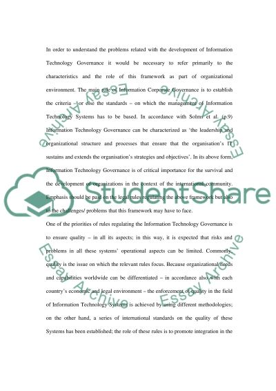 Information Technology Governance essay example