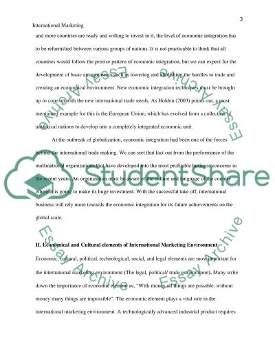 International Marketing Environment essay example