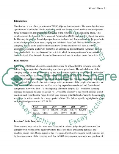 Nautilus Incorporation Research Paper example