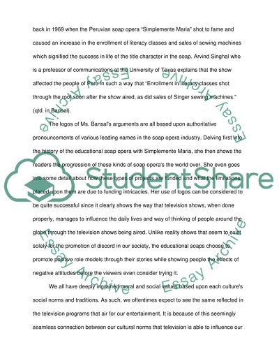 Soap Operas With a Social Message Essay Example | Topics and