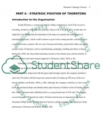 Thorntons Strategic Choices essay example