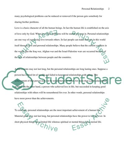 Informative Essay--What Is Important in Life Personal Relationships