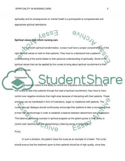 Spirituality in Nursing Care essay example
