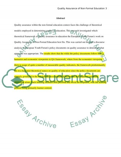 Quality Assurance of Non-Formal Education: a practice or a theory essay example