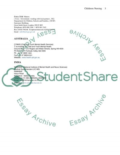 Childrens nursing essay example