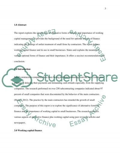 Refer to Appendix 1. Required: In a report for the attention of Coyle discuss the significance of alternative forms of finance essay example