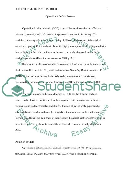 Oppositional Defiant Disorder essay example