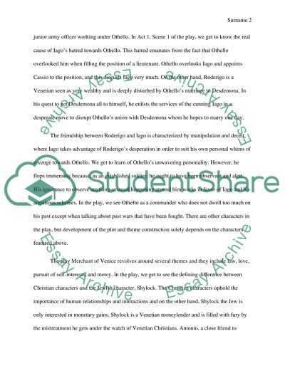 Expository Essay From Shakespeares Othello And The Merchant Of Venice Expository Essay From Shakespeares Othello And The Merchant Of Venice Topics For A Proposal Essay also Short English Essays  Essay Of Science