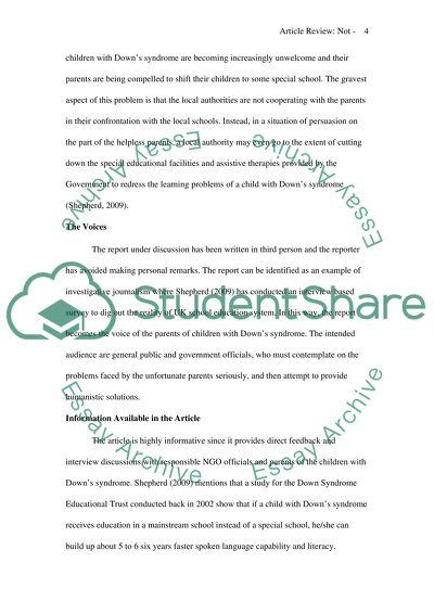 Not in My School Yard by Shepherd (2009). Article Review