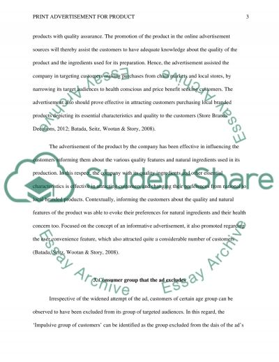 Print Advertisement for Product essay example