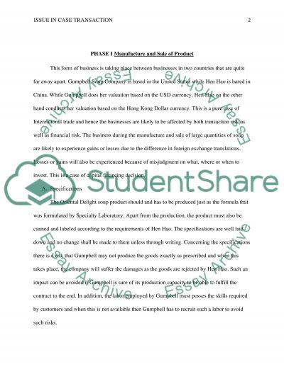 Issue in case transaction essay example