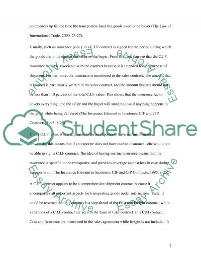 CIF Shipment Contract essay example