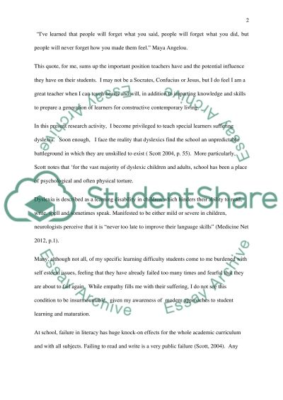 Self Esteem of Students with Specific Learning Difficulties within a Secondary School essay example