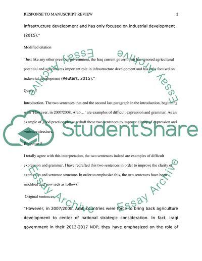 Response to Manuscript Review