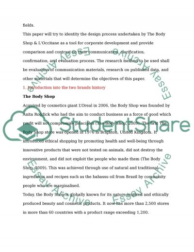 Case study about The Body Shop & Loccitane essay example