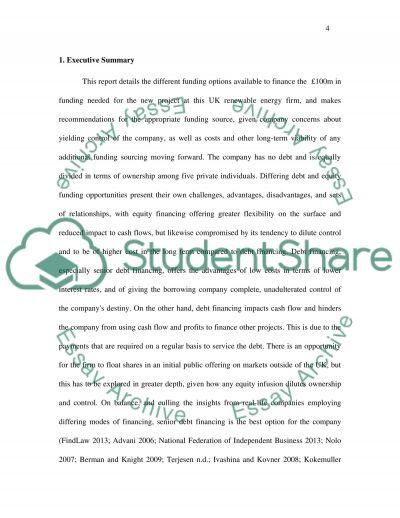 Report on Various Funding Sources essay example