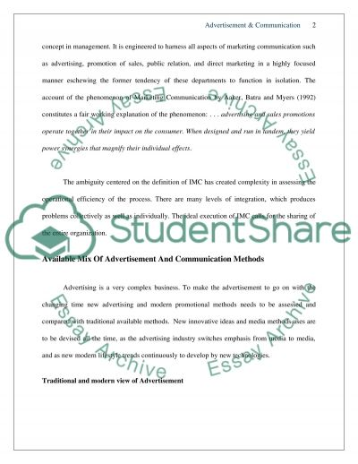 Advertising and communication essay example