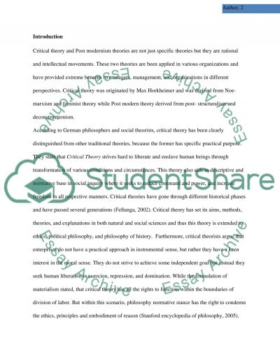 Critical and Post-Modern Organization Theory essay example