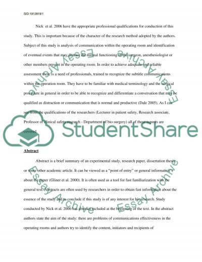 Critique of a published research paper essay example