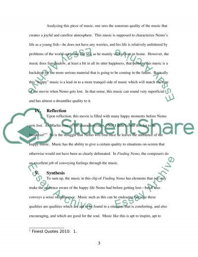 Finding Nemo essay example
