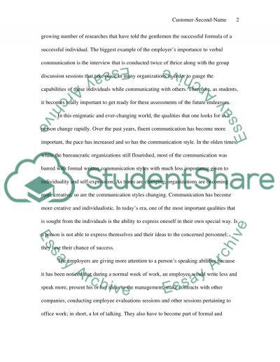 sample essay oral presentation