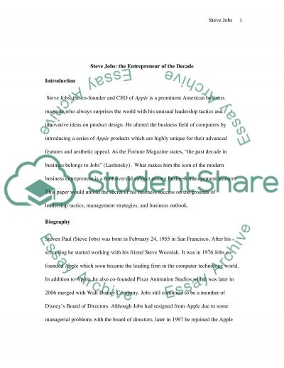 Steve Jobs essay example