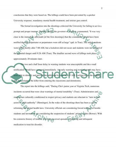 Virginia Tech Tragedy essay example