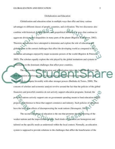 Globalization and education essay example