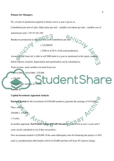Finance Analysis of Jones Limited(small, specialist marine engineering company based in Aberdeen) essay example