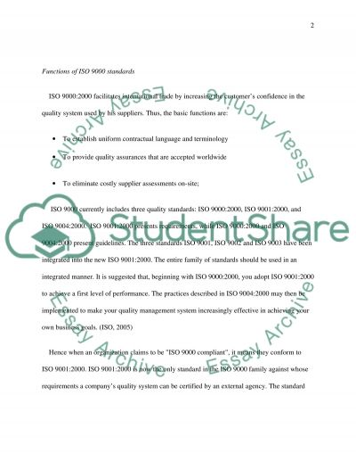 ISO Certification essay example