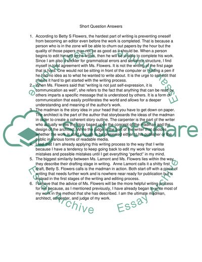 Answer 6 questions from an essay