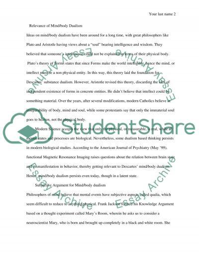 Mind/Body Problem essay example