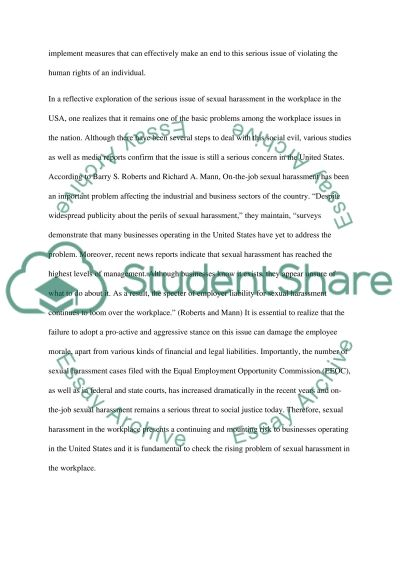 Sexual Harassment in the Workplace Essay essay example