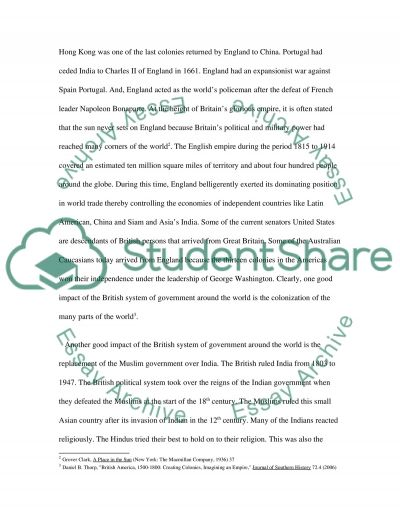 The impact of the British system of government around the world essay example