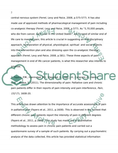 Cancer pain in end of life cancer patients essay example