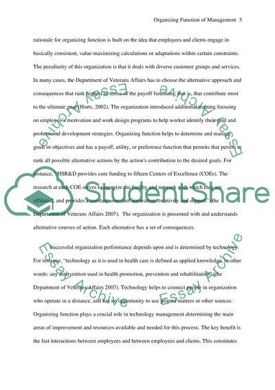 Organizing Function of Management Essay