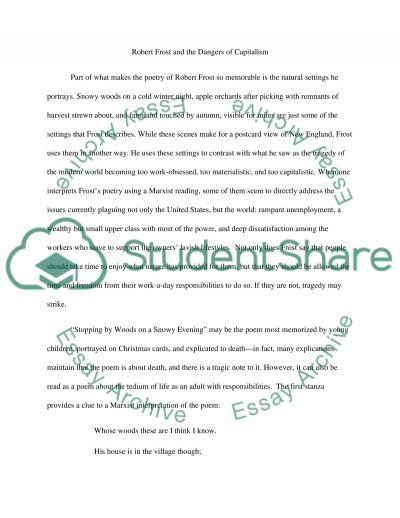 Poetry Robert Frost essay example