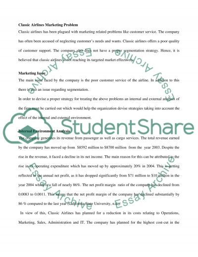 Classic Airlines Marketing Solution Paper essay example