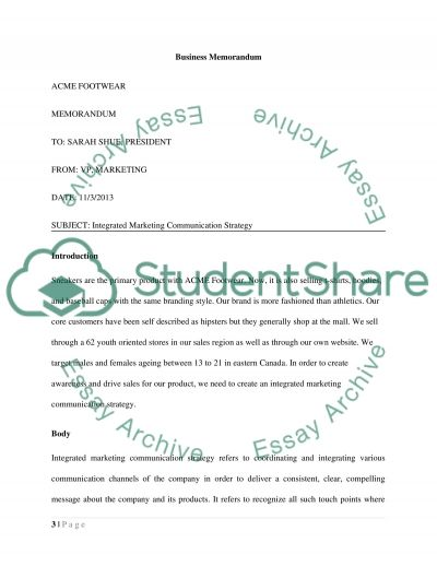 Integrated Marketing Communications Strategy Assignment example