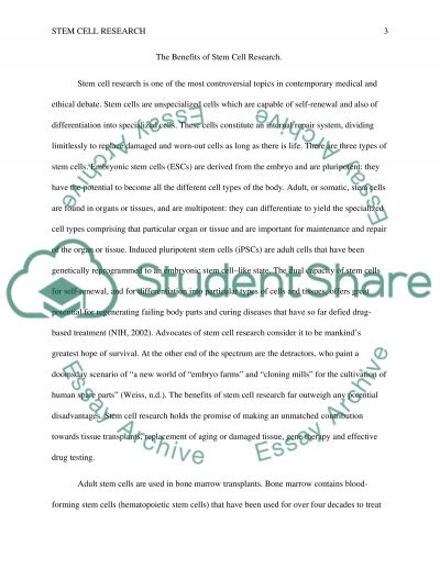 Stem cell research benefits essay
