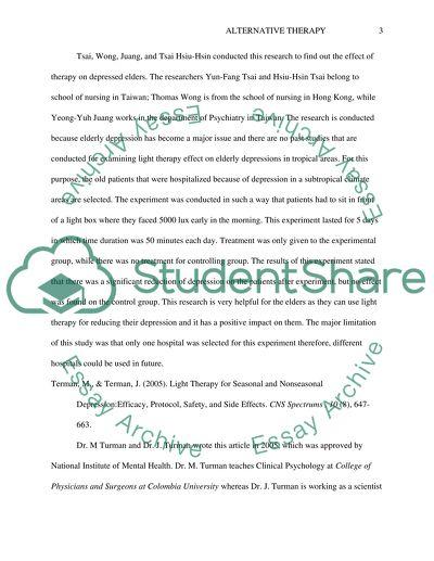 Nursing Essay on Alternative Therapy