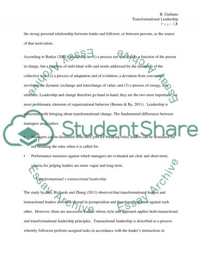 Literature Review  Transformational Leadership Essay Example