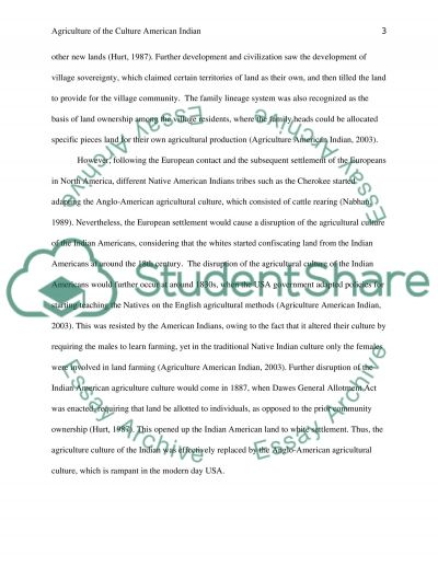 Agriculture paper on your chosen culture essay example