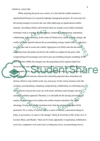 critical analysis of nursing scenario essay example