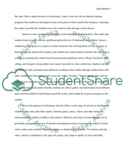 Evaluate the role of the internet for a college student
