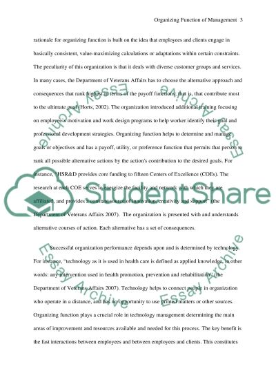 Organizing Function of Management Essay essay example