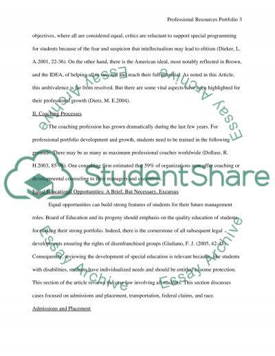 Professional Resource Portfolio essay example