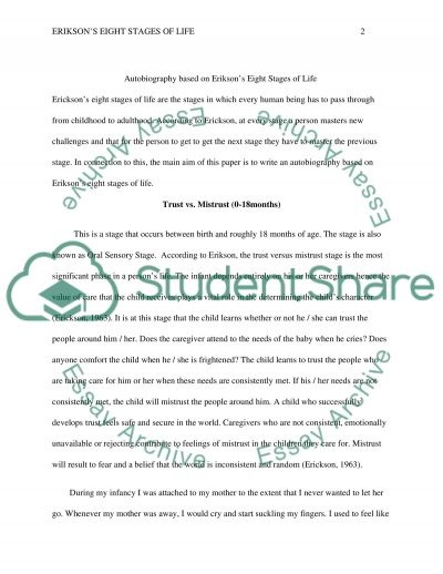 Erikson Autobiographical Assignment essay example